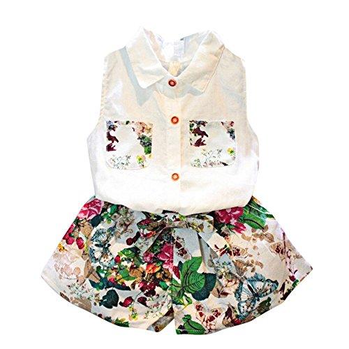 Covermason Niña Sin mangas Blusa Camiseta y Floral Pantalones(1 Conjunto) (6-7Años, Blanco)