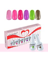 Vishine Lot de 6 x 8ml Cadeau Vernis à Ongles Gel Soak Off Semi Permanente Gelpolish Manucure Kit C083