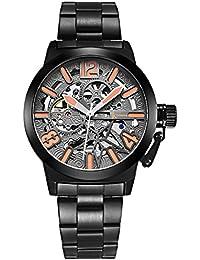 Alienwork Reloj Automático esqueleto mecánico relojes hombre XXL Oversized Diseño Metal negro K003GB-01