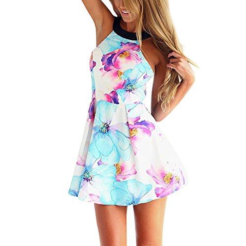 West See, Damen Sexy Ärmellos Minikleid Strandkleid mit floralem Print (L)