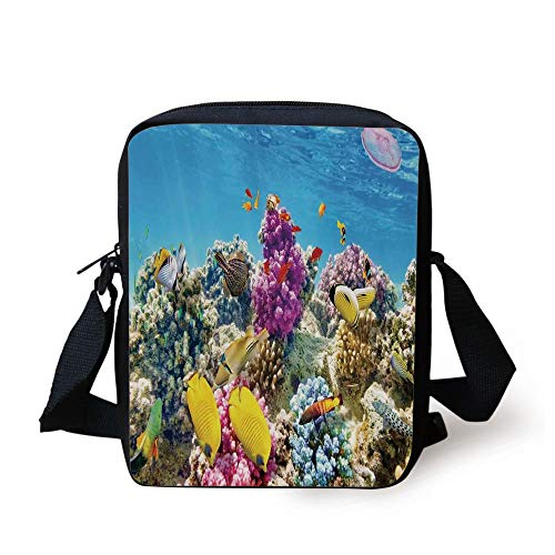 LULABE Ocean,Intact Sea Life Fish School and Medusa Jellyfish at Clear Lagoon,Lavender Yellow and Aqua Blue Print Kids Crossbody Messenger Bag Purse Medusa Candy