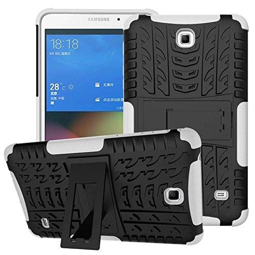 XITODA Hülle für Samsung Galaxy Tab 4 7.0, Hybrid TPU Silikon & Schwer PC Cover Schutzhülle für Samsung Galaxy Tab 4 7.0 SM-T230/T231/T235 Tablet Case Hülle mit Kickstand/Stand - Weiß