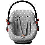 Haton Schonbezug Jersey Sternchen für Babyschale 0+ passend für Maxi Cosi, Römer u.a. (hellgrau mit Sternen)
