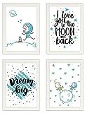 PICSonPAPER Kinder Poster 4er-Set Astronaut, gerahmt Din A4, Dekoration fürs Kinderzimmer, Kinderposter, Poster mit Rahmen, Kunstdruck, Wandbild, Geschenk (Mit Ikea FISKBO Weiss)