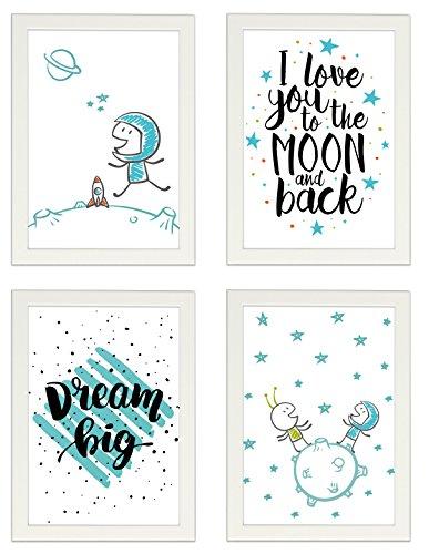"""Kinder Poster 4er-Set """"ASTRONAUT"""", gerahmt DIN A4, Dekoration fürs Kinderzimmer, Kinderposter, Poster mit Rahmen, Kunstdruck, Wandbild, Geschenk (Mit IKEA FISKBO weiss)"""