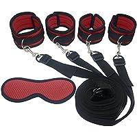 SM Bondage Set BDSM Fesselset SM Sexspielzeug Extrem Betten Fesseln mit Handschellen mit Augenmaske für Paare Gays, für Einsteiger und Erfahr