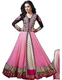 Palli Fashion Women's Net Pink & White Semi - Stitched Dress (SP01_Pink_Free_Size)