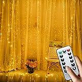 USB-Lichterkette aus Kupfer, Vorhang-Licht, 300 LEDs mit Fernbedienung, 8 Leuchtmodi, Warmweiß, dekorative Lichter für Weihnachten, Terrasse, Garten, Party, Baum, Hochzeit, Urlaub, Dekoration