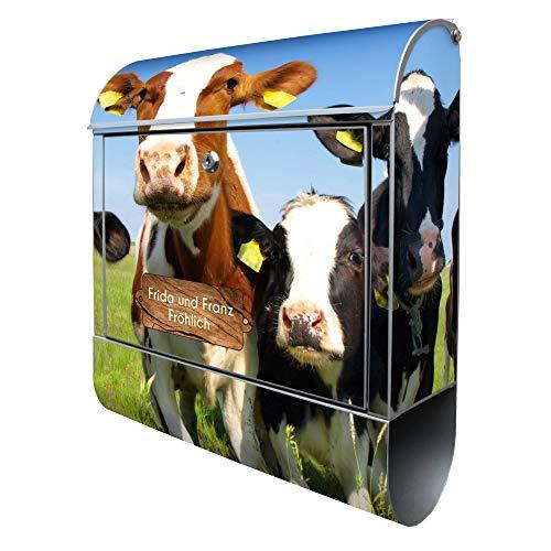 Banjado Design Briefkasten mit Motiv Kühe | Stahl pulverbeschichtet mit Zeitungsrolle | Größe 38x47x14cm, 2 Schlüssel, A4 Einwurf, inkl. Montagematerial mit Beschriftung