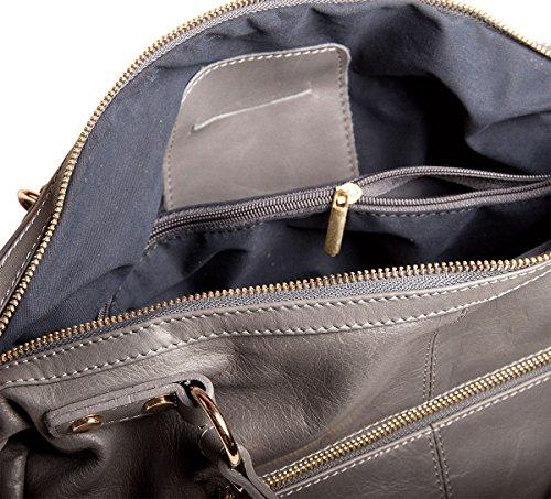 Pelle Italy Damen Shopper Tasche Echtes Leder 34x25x11 cm (BxHxT), Farbe:Taupe Schwarz