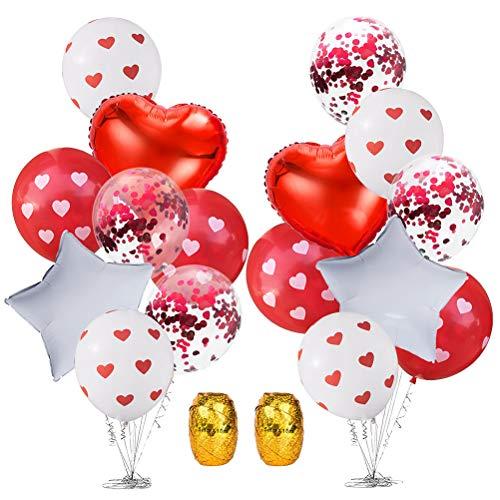 Toyvian Kit de Globos Decorativos de San Valentín Globos en Forma de corazón y en Forma de Estrella Glitter Confetti Globos de látex con Estampado de corazón - 1Pcs