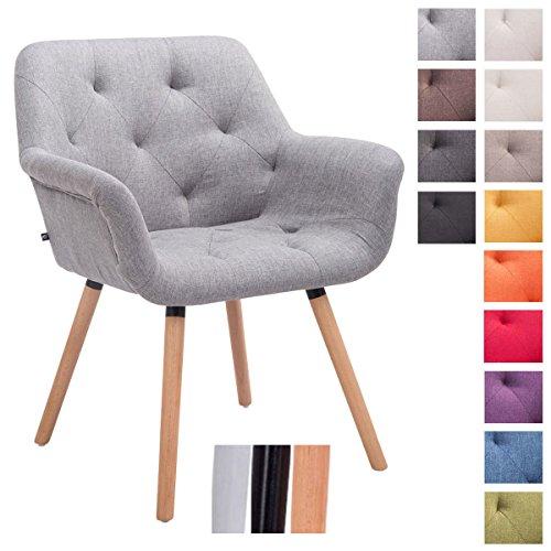 CLP Chaise de visiteur CASSIDY, chaise retro avec accoudoirs, capacité de charge max 150 kg, revêtement en tissu gris, piètement en bois: couleur nature