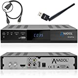 Anadol HD 222 Plus HD HDTV digitaler Satelliten-Receiver (WiFi, HDTV, DVB-S2, HDMI, 2X USB 2.0, Full HD 1080p, YouTube) [vorprogrammiert] inkl. HDMI Kabel - schwarz (Mit HDMI Kabel und WLAN Stick)