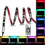 LED Lichtstreifen, wasserdicht, USB betrieben, 5V, 5050 RGB, Schwarz, 2m, 60 LEDs, flexibles Band mit RF Fernbedienung für TV Hintergrundbeleuchtung, PC Gehäuse, Schreibtisch, LKW, Unterschrank (2M)
