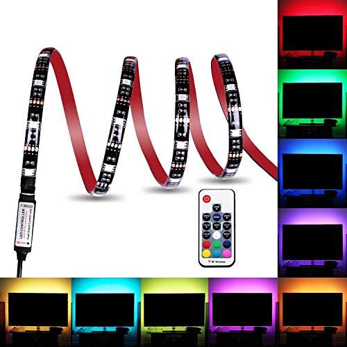 LED Lichtstreifen, wasserdicht, USB betrieben, 5V, 5050 RGB, Schwarz, 2m, 60 LEDs, flexibles Band mit RF Fernbedienung für TV Hintergrundbeleuchtung, PC Gehäuse, Schreibtisch, LKW, Unterschrank (2M) - Band Handy Pcs