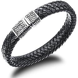 Ostan - 316L acero inoxidable y cuero gótico pulseras de hombres - nueva moda joyería brazaletes, negro