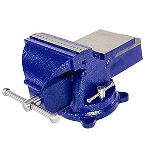TecTake® Schraubstock Amboss 360° drehbar mit Drehteller für Werkbank 165 mm