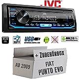 FIAT Punto Evo / 199 - Autoradio Radio JVC KD-X151 | MP3 | USB | Android 4x50Watt - Einbauzubehör - Einbauset
