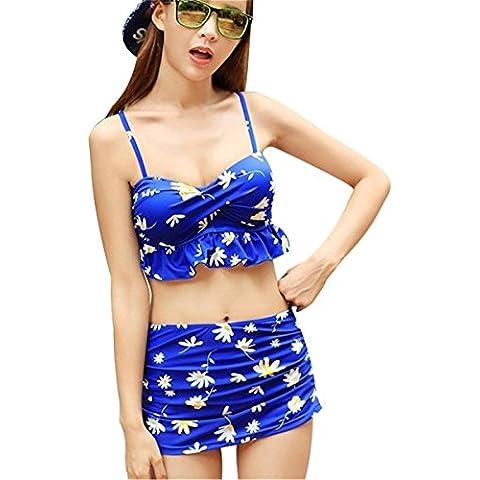 Sexy Set 4 Pezzi Costume da bagno per Donna e Stampa Floreale a Fiori Coordinati Reggiseni Top da Bikini Slip da Bikini e Copricostumi Gonna Blu