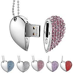 Garrulax Cle USB, Premium imperméable clé USB2.0, 8Go / 16 Go / 32Go Cles USB Type de Coeur Diamant Stockage de données Haute Vitesse Memory Stick Pendrive