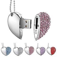 Idea Regalo - Garrulax Pendrive, USB Chiavette 8GB / 16GB / 32GB Premium Impermeabile Cuore Diamante ad alta velocità USB 2.0 dati, unità di memoria Flash Penna Disk Pen Drive