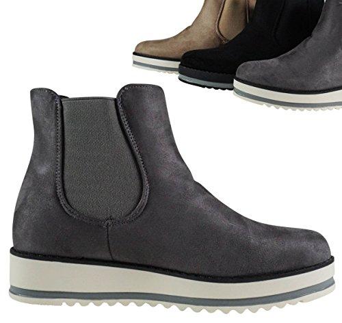 Schuhtraum Schlupfstiefel Stiefeletten Chelsea Boots Ankle Damen Gefüttert BH93 Grau