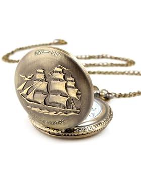 YESURPRISE Taschenuhr Uhren Unisex Quarzuhr Taschenuhr Kette Halskette Bronze Farbe B020