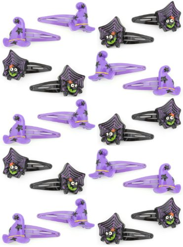 20 Halloween Purple Witches Hats & Black Spider Hair Clips Slides by Zest by Zest