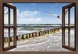 Wandbilder selbstklebend aus Vliesstoff oder Vinyl-Folie DeVIce Fensterblick - Ostsee in verschiedenen Größen erhältlich