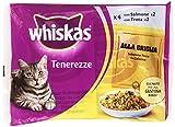 Whiskas Tenerezze, Cibo per Gatti, Selezione Pesce in Gelatina (Salmone, Trota) - 4 pezzi da 85 g [340 g]