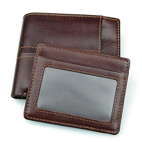 MeiliYH RFID Herren Kurze Echtes Leder Geldbörse Kreditkartenetui Multi Card Design Hochwertig Abschirmung Anti Scan Tasche (horizontal)) Braun (horizontal)