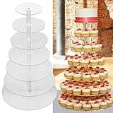 SENDERPICK Cupcake Ständer, Tortenständer 5 Etagen Acryl Halten sie Cupcakes Desserts für Nachmittagstee Party Baby Duschen Hochzeiten (7 Etagen)