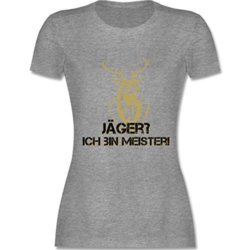 Après Ski Jäger Ich bin Meister tailliertes Premium TShirt mit  Rundhalsausschnitt für Damen Grau Meliert