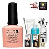 CND Shellac Starter Kit mit CND Shellac Bare Chemise Farbe 1Farbe Starter-Set–Top & Base Coat + Essentials (UK Verkäufer)