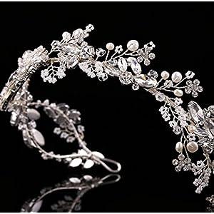 CYY Braut Kopfschmuck Diamant Krone halbrund Perle Haar mit Hochzeit Zubehör 2 Farbe