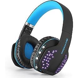 Bluetooth Auriculares gaming con micrófono, Beexcellent Q2 Cancelación de Ruid Auriculares con luz LED para Playstation PS4 PSP Xbox One Tablet iPhone iMac iPad para Computadora Portátil Música Bass Mejorado - Negro Azul