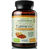 Organic Turmeric Curcumin 710mg High Strength with Black Pepper & Ginger for Maximum Absorption of Curcumin | 120 Veg Capsules - 100% Certified Organic - UK Made by Turmeric Vitality - Satisfaction Guaranteed