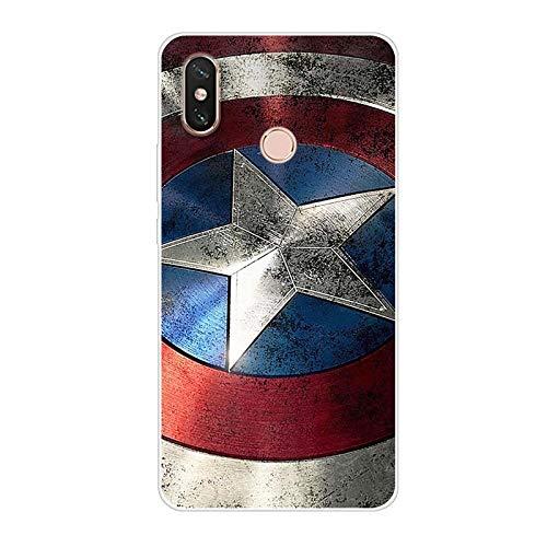 Aksuo Funda For Xiaomi Mi MAX 3 , TPU Anti-Rasguño Anti-Golpes Cover Protectora Transparente Claro TPU Caso Bumper Slim Silicona Case - Capitán America
