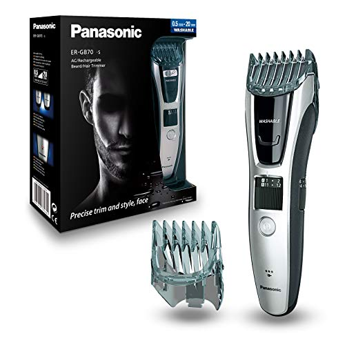 Panasonic Bart-/Haarschneider ER-GB70 mit ausschiebbarem Mini-Trimmer, Barttrimmer für Herren mit 39 Schnittlängen, präzise Bartpflege & Haarschnitte