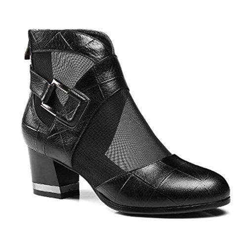 ZCJB Sandales Printemps Saison Cuir Sandales Femme Été Épais Talon Chaussures Net Fils Bottes Courtes Femme Mi-Talon Grande Taille Sandales