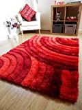 Rugs Superstore New Bright rot bunt Luxuriöse Dick Hochflor Teppich modernen Retro-Design, seidig Moderne Shaggy Teppiche Matten UK 120 x 170 cm