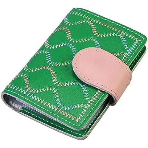 kilofly Business porta carte di credito–a libro in stile vintage con 26tasche per carte di credito Misura unica green