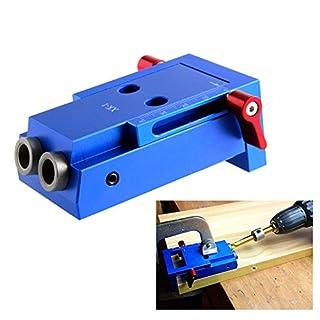 ASOSMOS Mini-Taschenloch-Jig-Kit Holzverbindungssystem 3-Stufen-Bohrer Schräg angeordnete Holzdübel-Jig-Werkzeuge