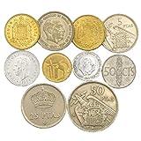 10 Espana Espagne Coins Pesetas Peseta centimos Avant l'Euro Coins 1939-2001. Choix Parfait pour Votre Tirelire, Porte-Monnaie ET Album pour LA Monnaie...