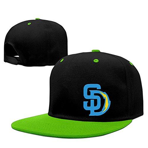 ahey Unisex San Diego Sport Fußball Gemischt Flat Bill Cap Sommer Hat Rot, unisex, KellyGreen