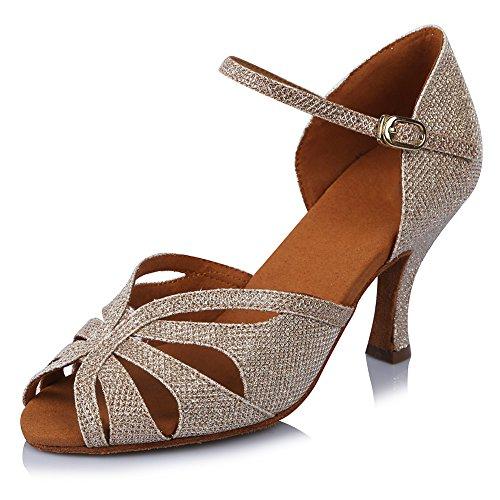 Ykxlm Femmes Et Petites Filles Chaussures De Danse Latine Satin / Chaussures De Salle De Bal Standard, Modèle-itaf435 Or