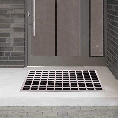 Goods & Gadgets Fußmatte aus gebürstetem Edelstahl mit Gummieinlagen Eingangsmatte Fußabtreter 60x40cm
