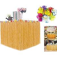 Peloo Falda de Mesa Luau Hawaiana Perfecto, Playa, Tiki, Isla Tropical, Fiesta, Luau, Decoraciones Hawaianas con 28 Bonus Hibiscus Flowers 276CM*75CM
