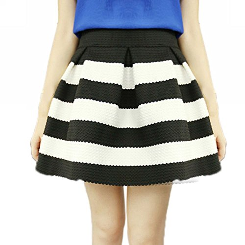 Falda a Rayas Negra Blanca Cebra para Mujer Vintage Algodón de Moda