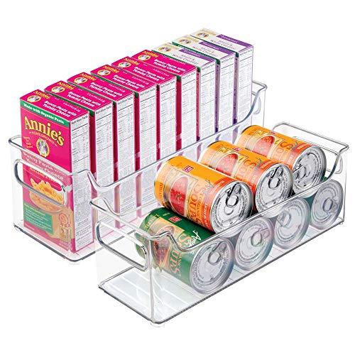 mDesign 2er-Set Aufbewahrungsboxen - ideal als Kühlschrankbox, Haushaltsbox oder für sonstige Haushaltsutensilien - aus robustem Kunststoff - durchsichtig - Kühlschrank, Pantry